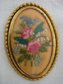 Vintage Embroidered Brooch - Roses, Forget-me-knots and Lily of the Valley - 1940s/50s (Sold)